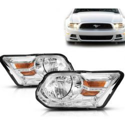 CHROME HOUSING HEADLIGHTS HEADLAMPS LEFT+ RIGHT FORD MUSTANG 10-14