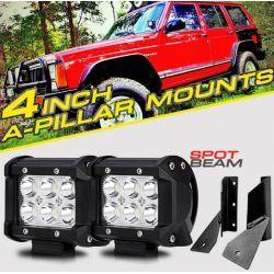 SPOT LED LIGHT PODS A PILLAR MOUNT BRACKET JEEP CHEROKEE XJ 84-01